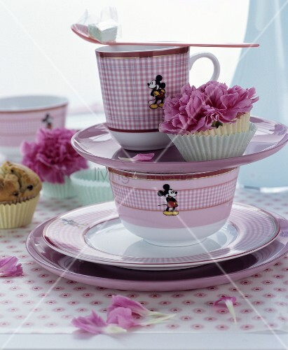 Pink Mickey Mouse crockery