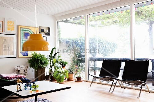 Black designer easy chairs an housplants in front of glass wall in retro living area