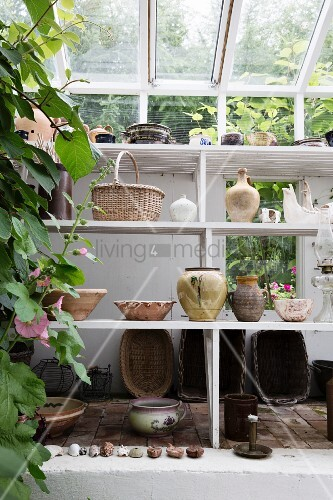 Vases and bowls on white-painted shelves below glass roof in greenhouse