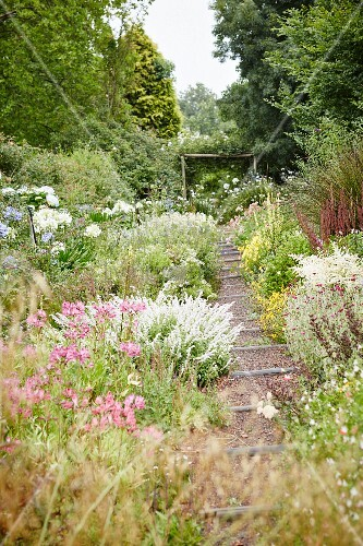 Gravel Garden Path With Wooden Steps Buy Image 11410854