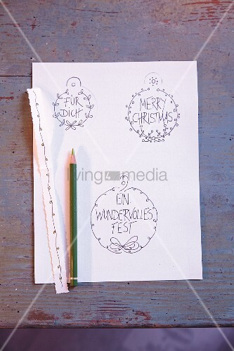 Gift tags drawn on paper
