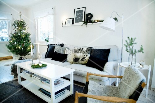Christmas tree in Scandinavian living room