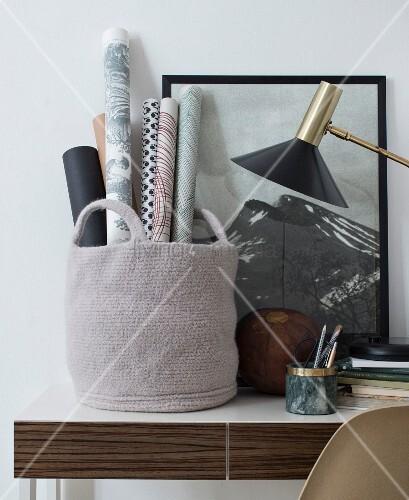Homemade felt basket for storing gift wrap