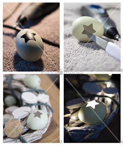 Hand-crafting an Easter wreath using blown eggs and fairy lights