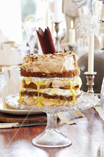 Layer cake on vintage cake stand