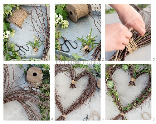 Tying a wreath of birch twigs and flowers