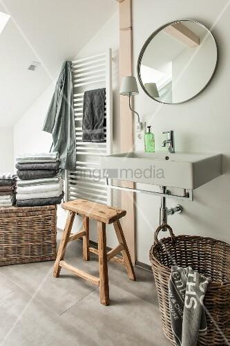 Modernes waschbecken unter rundem bild kaufen - Rustikaler spiegel ...
