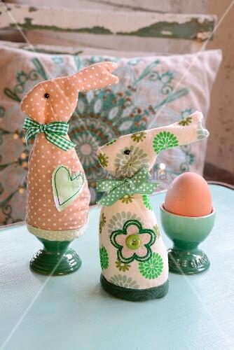 Hand-sewn rabbit egg warmers