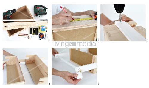 Instructions for making bathroom shelves with towel rail out of a wooden crate