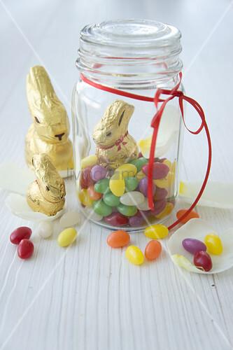Chocolate bunnies and jar of sugar eggs
