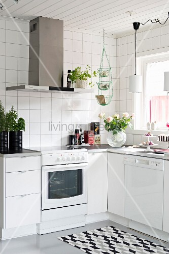 White kitchen with small accents of colour