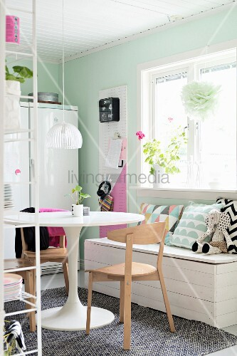 Dining area in pastel kitchen