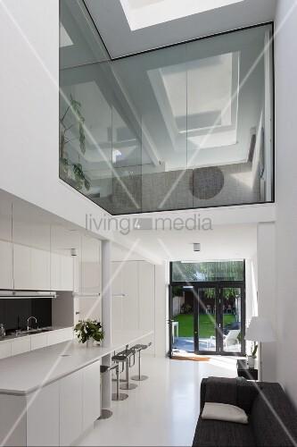 Open-plan living area in modern building