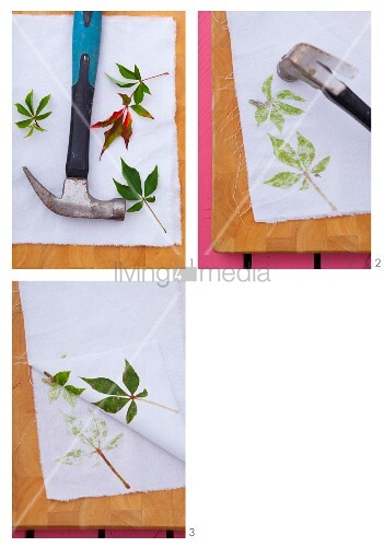 Instructions for printing fabric with fresh Virginia creeper leaves