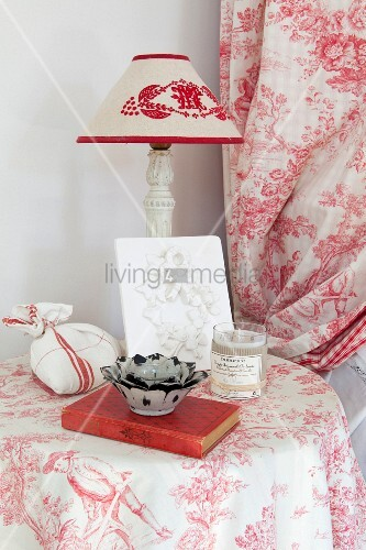 Arrangement of various red and white fabrics
