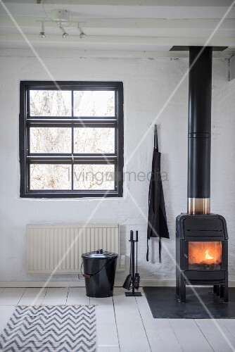 Fire in cast iron log burner on white-painted wooden floor