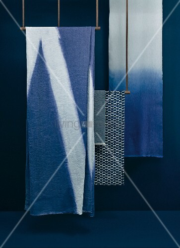 Japanese fabrics with various patterns in differing blue tones