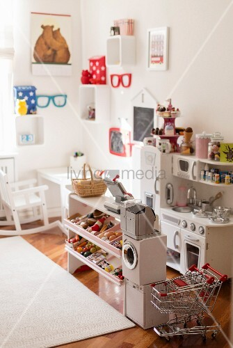 Toy shop and kitchen in child's bedroom