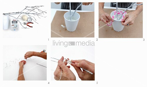 Instructions for making wire lettering with crochet cover attached to painted twigs