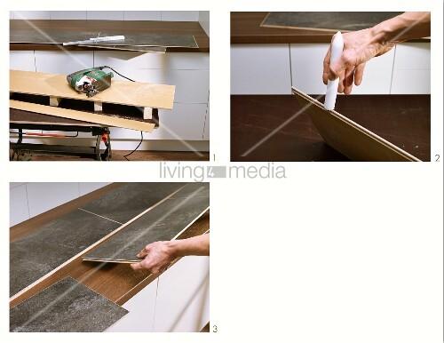 fliesenschild in der k che aus laminat bild kaufen 11355045 living4media. Black Bedroom Furniture Sets. Home Design Ideas