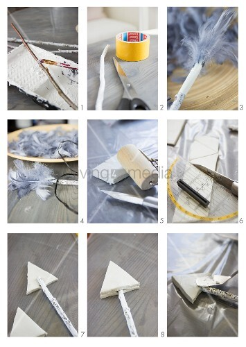 Making arrows from twigs and feathers