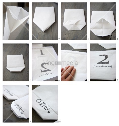 Instructions for making a paper bag