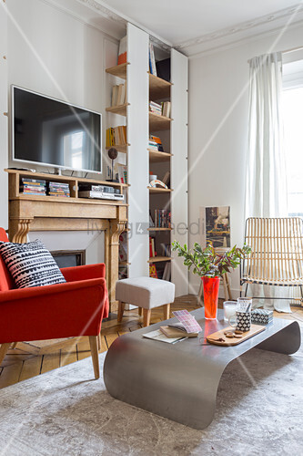 Modern coffee table and shelving in living room