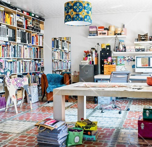 Study and workshop with shelving and patterned floor