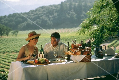 Romantic evening meal in Napa Valley vineyard, USA