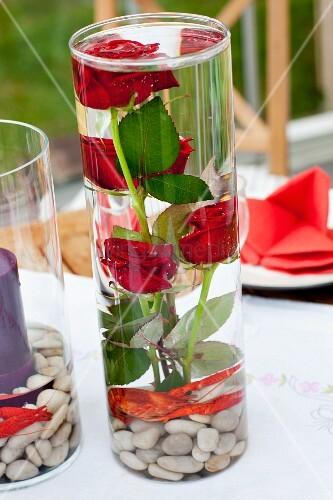 rote rosen mit kieselsteinen und flusskrebs in einer glasvase bild kaufen living4media. Black Bedroom Furniture Sets. Home Design Ideas