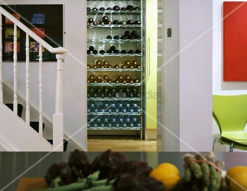 Treppe in der Küche und Blick durch Durchgang auf Weinregal – Bild ...