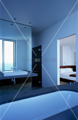 Large bathroom with entrance to bedroom