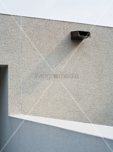 White Plaster Facade With Overflow Pipe Buy Image