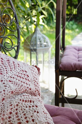 Scatter cushion with crocheted cover