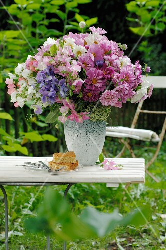 Bunch of flowers with garden cosmos