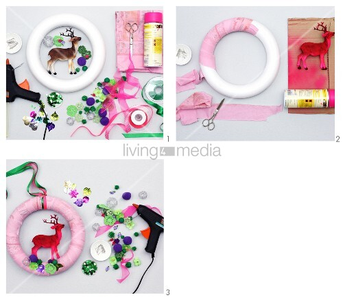 Instructions for making bright door wreath with spray-painted stag figurine and fake flowers