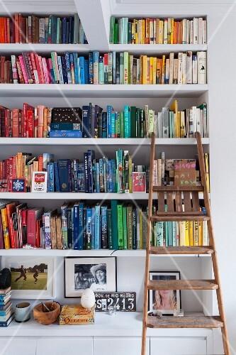 Bücherregal mit farblich sortierten Büchern und angelehnter, rustikaler Holz-Trittleiter