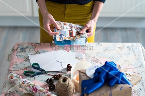 Woman wrapping presents