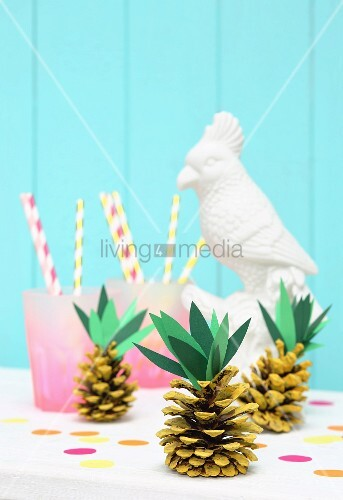 Pineapples made from pine cones