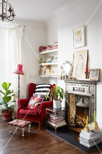 Gentil Red Velvet Wing Back Chair Next To Artistic Fire Surround In Cosy Reading  Corner