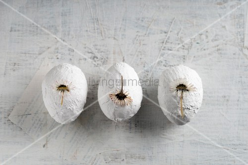 Three white plaster Easter eggs decorated with pressed daisies