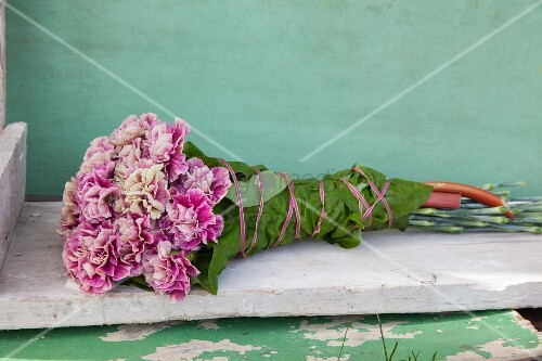 Bunch of carnations wrapped in rhubarb leaf