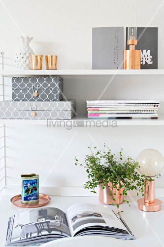 String shelves above houseplant and table lamp on study desk