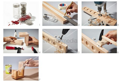 Instructions for building a wooden spice rack