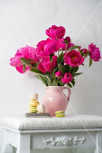 Macarons next to jug of pink peonies on white stool