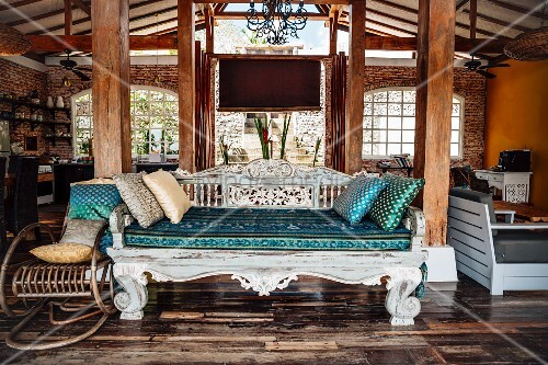 Indonesian daybed in exotic holiday villa