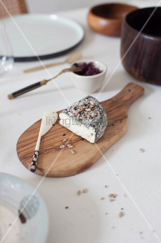 Goats' cheese and cheese knife on wooden board