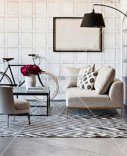 Faux panelled wall in living room