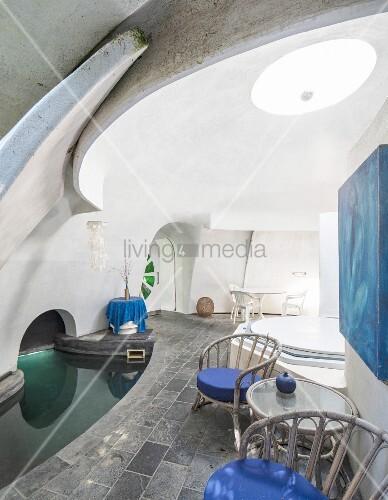 Inside semi-subterranean eco dome