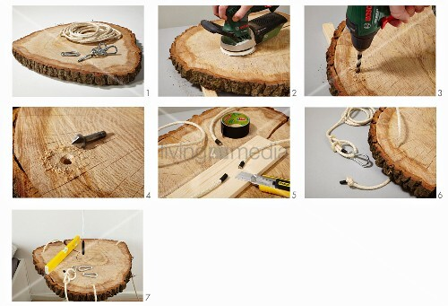 Instructions for making a bedside table from ropes and slice of tree trunk